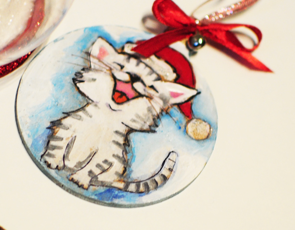 hand painted christmas tree decorations cat
