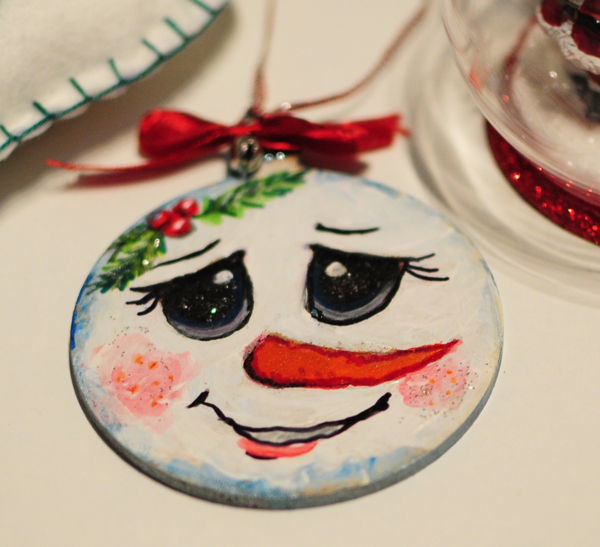 hand painted christmas tree decorations happysnowman