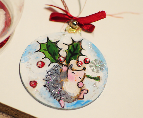 hand painted christmas tree decorations hedgehog