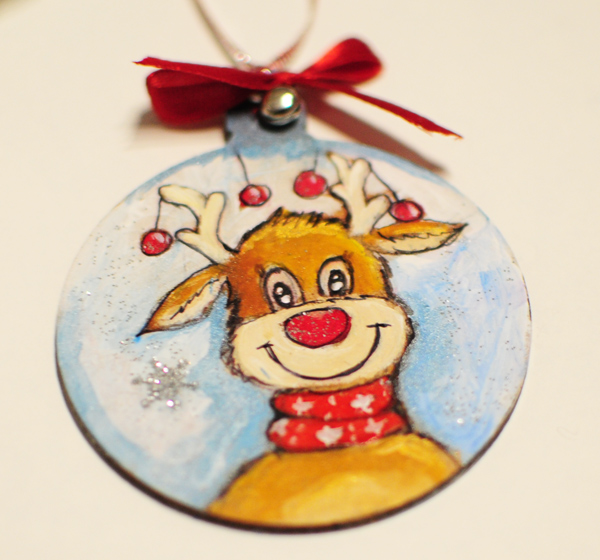 hand painted christmas tree decorations reindeer