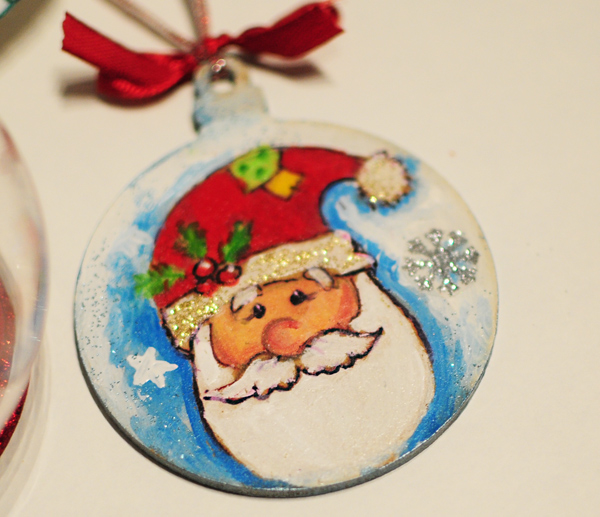 hand painted christmas tree decorations santa