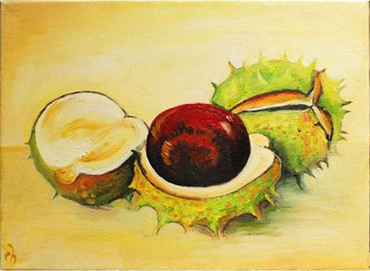 chestnut_oil_painting_on_canvas_marron_still_life_bespoke_special_order_high_quality_beautiful_west_England_Marlborough_Bath