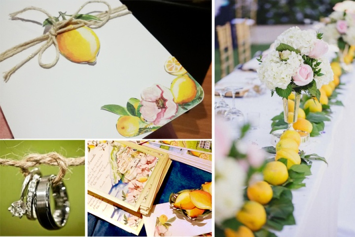 Hand-painted-beautiful-summer-weddind-Capri-invitation_custom_made_vintage_england_happy_green_lemon_silver_bouquet