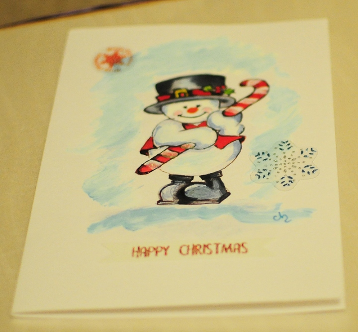 Hand painted-Christmas card snowman