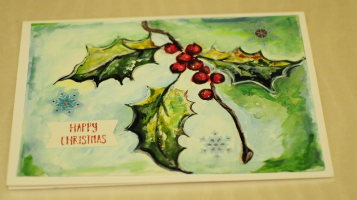 Hand painted christmas cardwinter