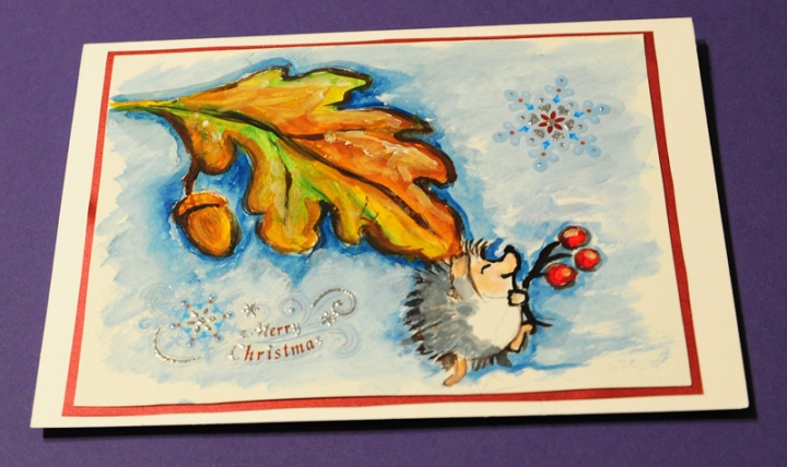 Hand painted_christmas cardhagehog