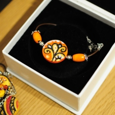 Hand painted bracelet Indian motif