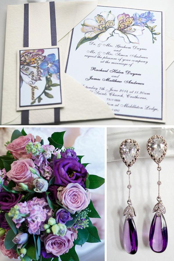 Purple-Lily-luxury-painted-wedding-invitation_England_Middlesbrough