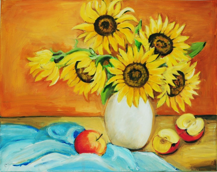 sunflowers_still_life_oil_bespoke_order_modern_artist_decorative_art_comission_kitchen_warm_feeling_happyness_United_Kingdom_England_Oxfordshire