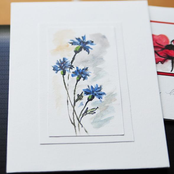 Hand painted, made to order, cornflowers, greeting, birthday, occasion, blank, card, watercolour, hand drawn, art