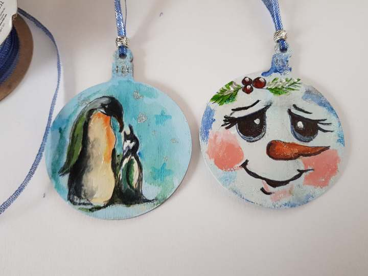 Art hand painted hanging chrismas tree decorations unique gift