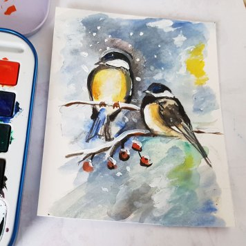 bespoken-hand-painted-original-personalised-christmas-card-birds-in-winter