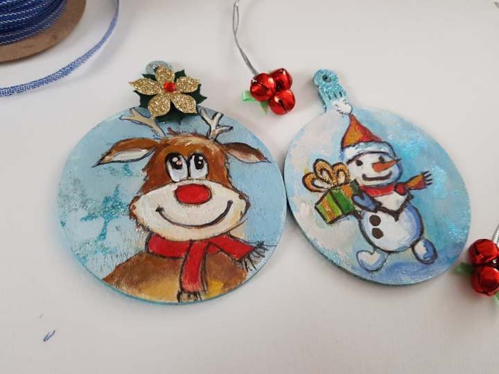 hand painted hanging chrismas tree decorations unique gift