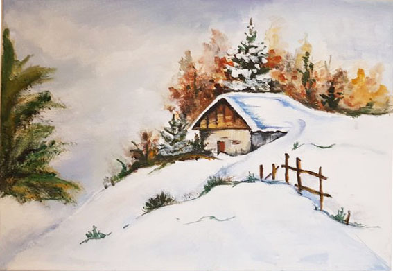 winter landscape painted on canvas acrylic beautiful gift original art hand painted