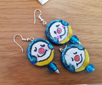 earrings-and-pandant-hand-paited-wood-snowman-blue