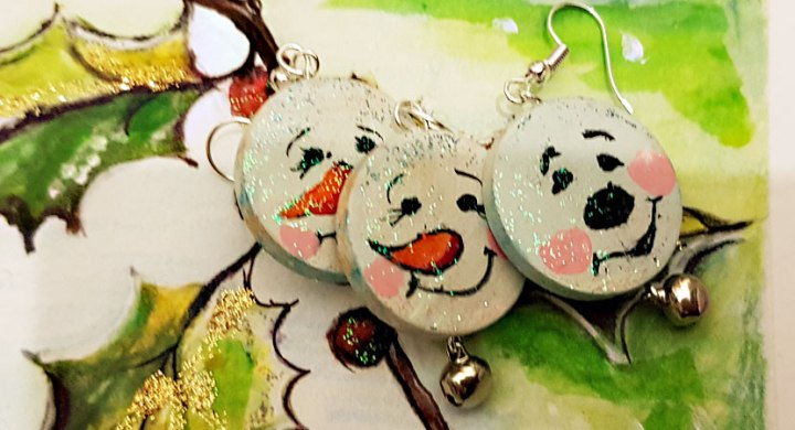 Hand painted earrings for Christmas