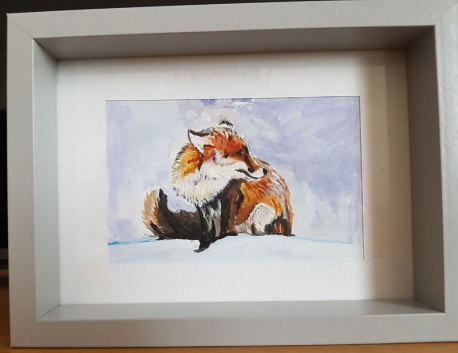 fox-winter-snow-bird-small-painting-watercolor-beautiful-gift