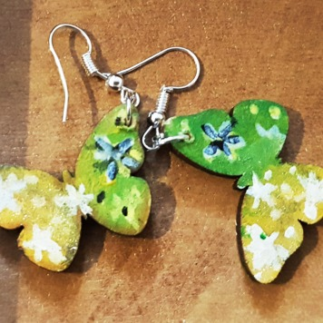 hand-painted-original-earrings-green-yellow-butterfly--wood-beautiful-gift-for-her