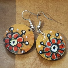hand-painted-original-earrings-red-flowers-wood-beautiful-gift-for-her