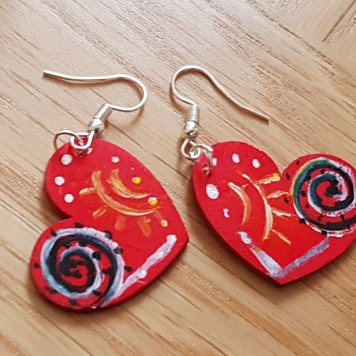 hand-painted-original-earrings-red-heart-wood-beautiful-gift-for-her