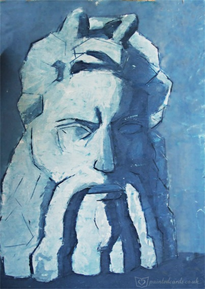 Water colour Study - the head of Moses - by Michelangelo