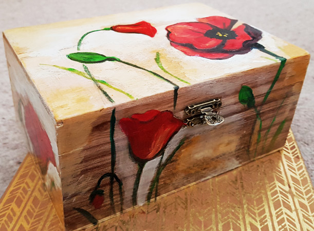 Hand painted wooden jewellery box