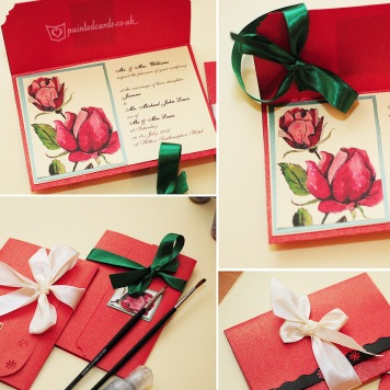 Hand-painted-beautiful-red rose-weddind--invitation_custom_made_vintage_england_happy__silver_bouquet
