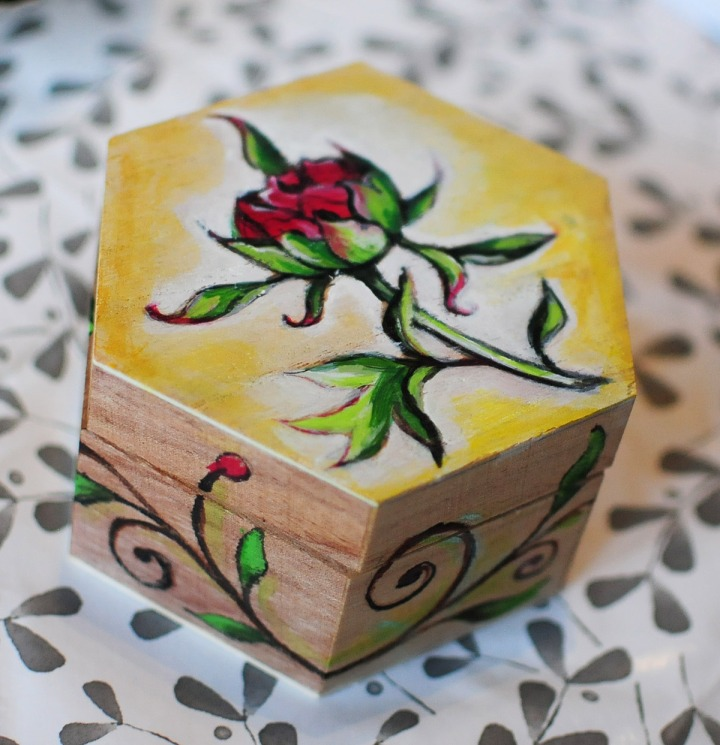 Painted box peony flower