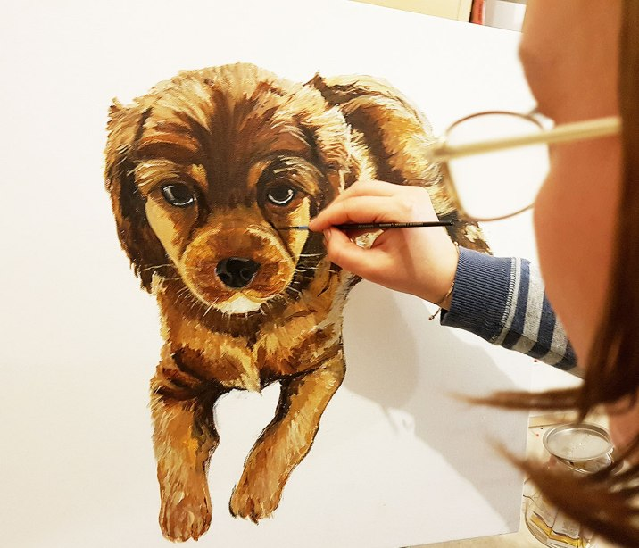 brown-pet-portrait-dog-acrylic-on-canvas-beautiful-gift-hand-painted-direct-from-artist-commissioned-custom-cut-puppy-Bristol