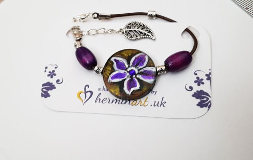 hand-painted-bracelet-purple-flower--wood-beautiful-gift-for-her