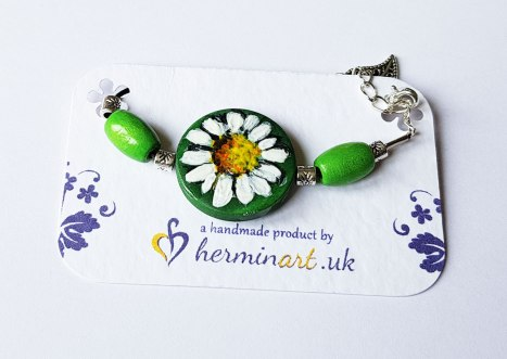 hand-painted-original-bracelet-daisyflower-green-wood-beautiful-gift-for-her
