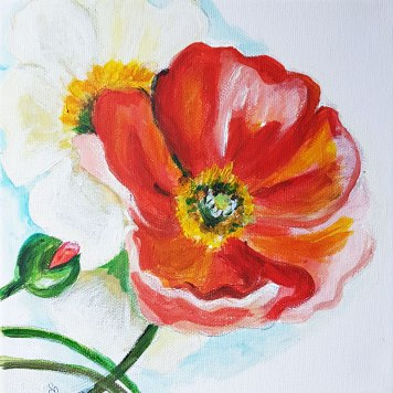 1w-Poppies-on-the-wall-beautiful-red-flowers-suprarealisticacrylic-painting-on-canvas-4-pannels-