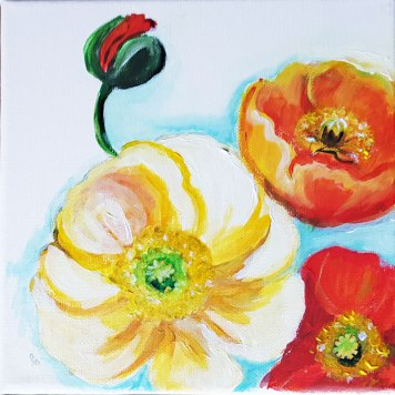 3w-Poppies-on-the-wall-beautiful-red-flowers-suprarealisticacrylic-painting-on-canvas-4-pannels-