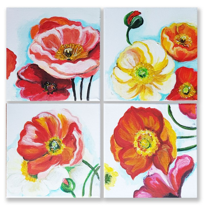 Set of 4 Canvas Art Red poppies