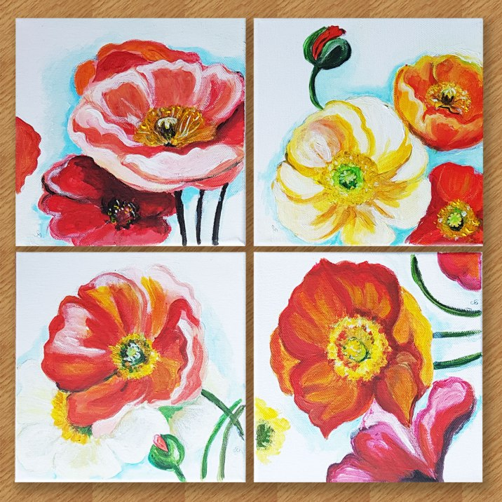 Poppies-on-the-wall-beautiful-red-flowers-suprarealisticacrylic-wall-art-painting-on-canvas-4-pannels-