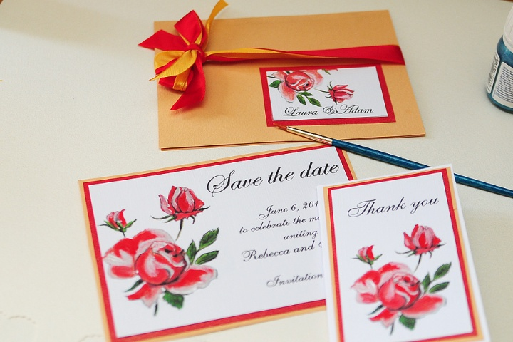 Red roses wedding invitations