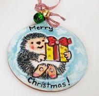 hangingchrismastree-decorations-hand-painted-on-wood-hedgehog-winter-christmasgiftpersonalised