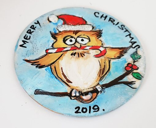 hangingchrismastree-decorations-hand-painted-on-wood-owl-winter-christmasgiftpersonalised