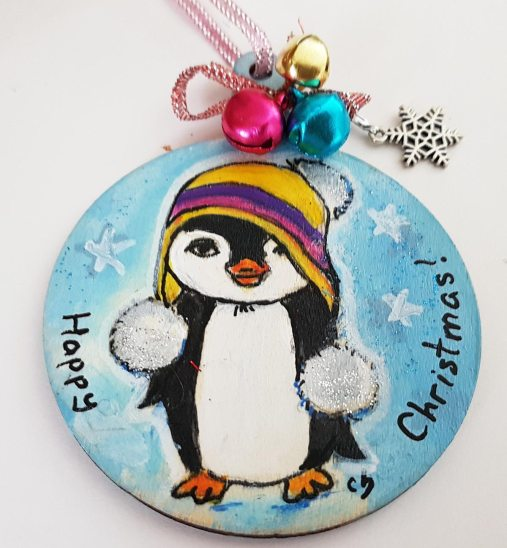 hangingchrismastree-decorations-hand-painted-on-wood-pinguin-winter-christmasgiftpersonalised
