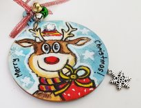 hangingchrismastree-decorations-hand-painted-on-wood-reindeer-winter-merry-christmasgiftpersonalised