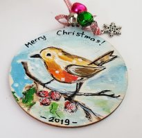 hangingchrismastree-decorations-hand-painted-on-wood-robin-winter-christmasgiftpersonalised