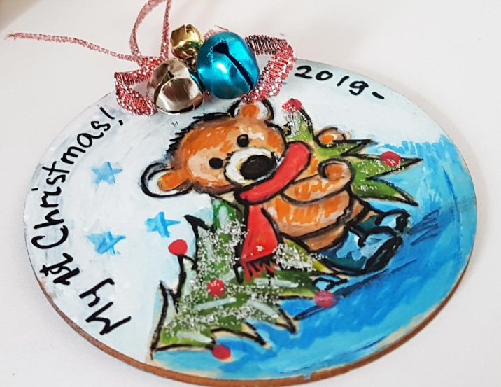 hangingchrismastree-decorations-hand-painted-on-wood-teddy-bear-first-babi-christmas