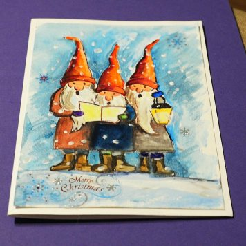 Christmas-card-hand-painted-print-watercolor-winter-personalised-three-gnomes