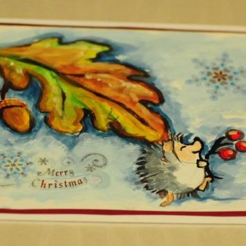 Christmas card hand-painted watercolor winter personalised hedgehog Swindon