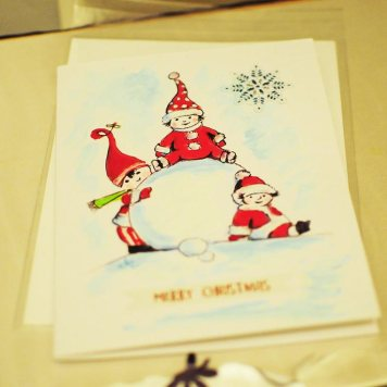 Christmas-card-hand-painted-watercolororiginal-print-winter-personalised-childrenwith-snow
