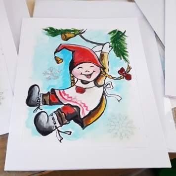 Christmas-card-personalised-hand-painted-watercolororiginal-print-specially-for-you-winter-personalised-happy-girl-on-swing