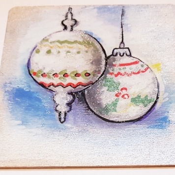hand-painte-coaster-on-wood-special-gift-for-Christmas-baubles-silver-Swindon-bespoke