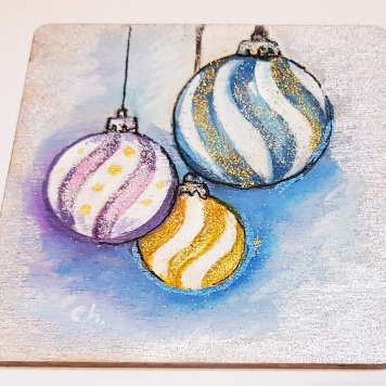 hand-painte-coaster-on-wood-special-gift-for-Christmas-baubles-Swindon-bespoke