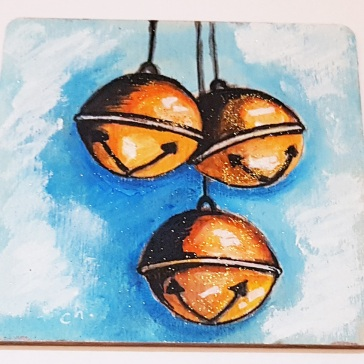 hand-painte-coaster-on-wood-special-gift-for-Christmas-bells-orange-Swindon-bespoke