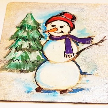 hand-painte-coaster-on-wood-special-gift-for-Christmas-snowman-set-personalised-Swindon-bespoke